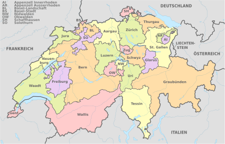 Svájci munkák régiói